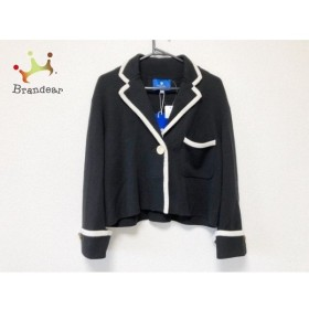 ブルーレーベルクレストブリッジ ジャケット サイズ38 M レディース 美品 黒×アイボリー ニット   スペシャル特価 20190804