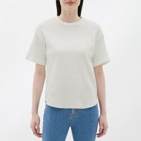 (GU)ワッフルT(半袖) OFF WHITE L