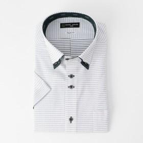 山喜 メンズ SHIRTHOUSE BLACKレーベル 形態安定レギュラーフィット2枚衿風ボタンダウンシャツ