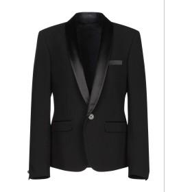 《セール開催中》BALMAIN メンズ テーラードジャケット ブラック 48 コットン 100% / ポリエステル / シルク