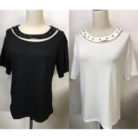 Tシャツ - shoppinggo Tシャツレディース カットソー 大きいサイズ 伸縮性 丸首 体型カバー