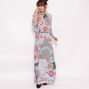 デシグアル Desigual ドレス3/4袖 (ホワイト)