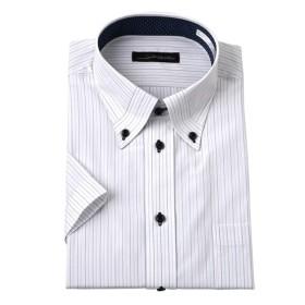 衿汚れが目立ちにくい半袖デザインワイシャツ(マイターボタンダウン) (ワイシャツ)