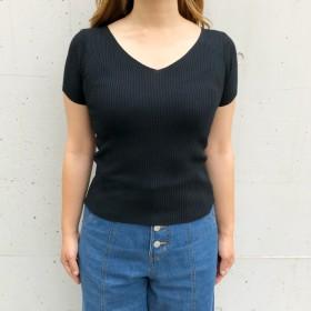 ニット・セーター - SHEENA Vネック半袖サマーベーシックリブニット ニット トップス 半袖 リブ 定番 ベーシック Vネック