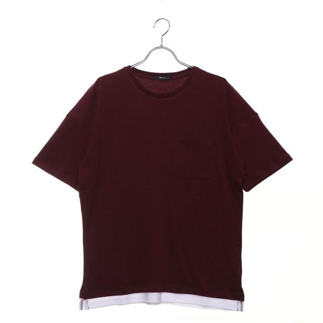 コムサイズム COMME CA ISM フェイクレイヤードビッグTシャツ (ワイン)