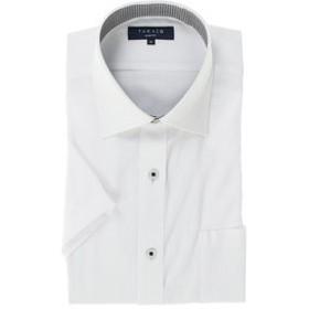 【TAKA-Q:トップス】形態安定吸水速乾スリムフィット ワイドカラー半袖ビジネスドレスシャツ