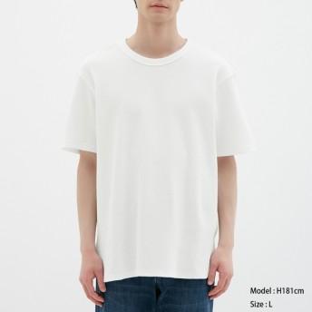 (GU)ワッフルクルーネックT(半袖) WHITE L