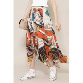 (ROSE BUD/ローズバッド)スカーフプリントスカート/レディース オレンジ