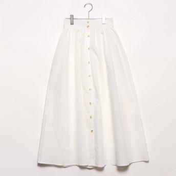 スタイルブロック STYLEBLOCK ブロードフロント釦ギャザースカート (ホワイト)