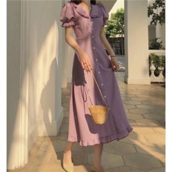 ワンピース ドレス レトロ ミモレ丈 ロング 五分袖 20代 30代 40代 紫 パープル イエロー 春夏 フリル袖 ワンピース 上品 襟付き パフス