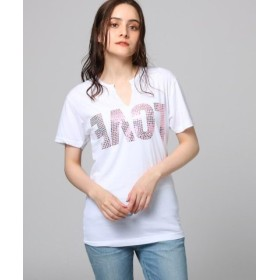 (JET/ジェット)ラメパーツメッセージTシャツ/レディース オフホワイト(103) 送料無料