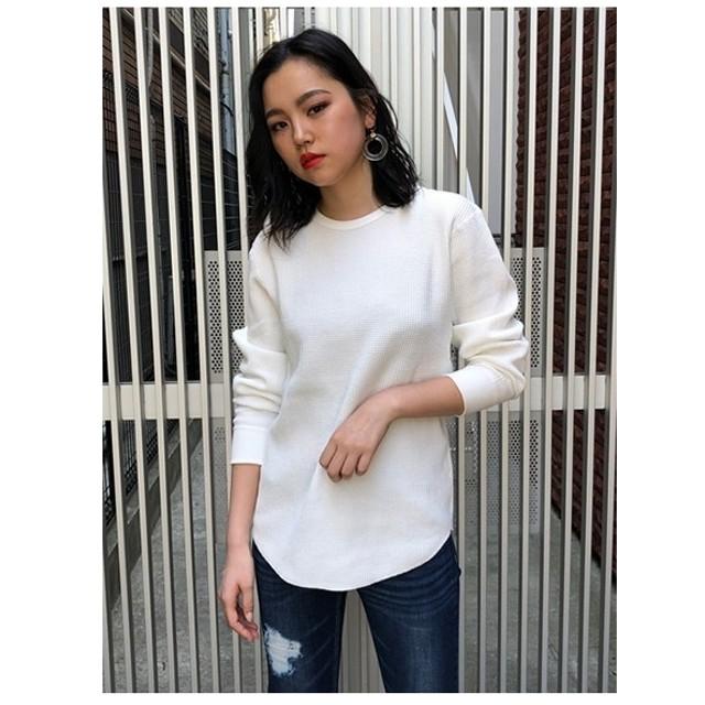 アンビー ENVYM ヘビーワッフルLONGTシャツ (ホワイト)