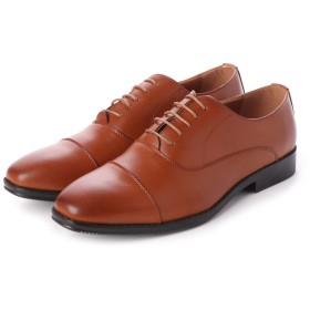 ジーノ Zeeno ビジネスシューズ メンズ 幅広 3EEE 防滑 レースアップ ストレートチップ 内羽根 紳士靴 大きいサイズ対応 キングサイズ (L/Brown)