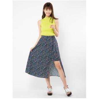CECIL McBEE 小花スリットスカート ブルー