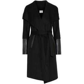 《セール開催中》SOIA & KYO レディース コート ブラック L ウール 52% / ポリエステル 48% / 羊革(ラムスキン)