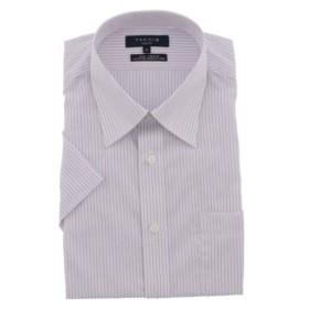 (TAKA-Q/タカキュー)形態安定スリムフィットレギュラーカラー半袖ビジネスドレスシャツ/メンズ パープル