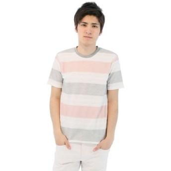 (TAKA-Q/タカキュー)BIGヘリンボーンボーダー柄クルーネックTシャツ/メンズ ピンク
