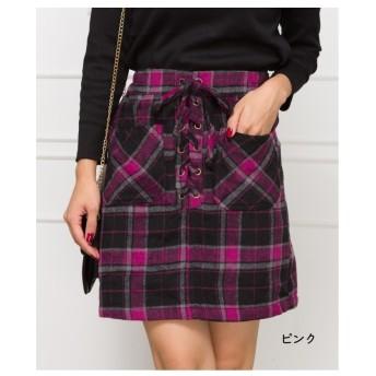スプレイ SpRay チェックスピンドルミニスカート (ピンク)