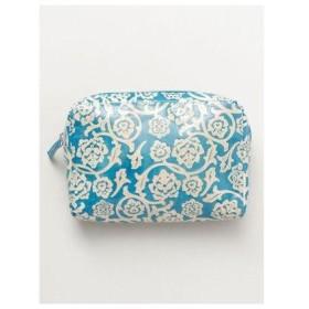 【チャイハネ】山羊革細工 花柄マチ付きポーチ ターコイズブルー