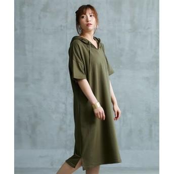 【ゆったりワンサイズ】キーネックパーカーワンピース (ワンピース),dress