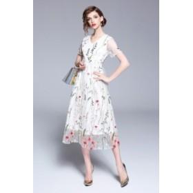 シンプルながら女性らしいラインを引き立たせる ロングドレス ワンピース 半袖 シースルー ハイウエスト パーティー 二次会 食事会