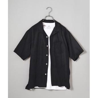 シップス SHIPS JET BLUE: ワイドストライプ 半袖オープンカラーシャツ メンズ ダークグレー SMALL 【SHIPS】