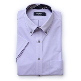 NEWYORKER 【クリアランスセール】【FLEXY】鹿の子インレイ / 半袖ボタンダウンシャツ ドレスシャツ,パープル(80)