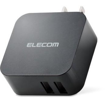 ELECOM MPA-ACU02BK [スマートフォン・タブレット用AC充電器/2.4A出力/USB2ポート/おまかせ充電搭載/ブラック]