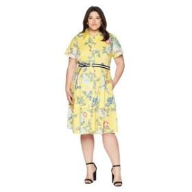 ドナモーガン レディース ワンピース トップス Plus Size Floral Cotton Polin Shirtdress Sunny Yellow/Blue Multi