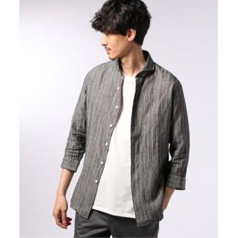 EDIFICE リネン パターン 7分袖 カッタウェイカラー シャツ ブラック M