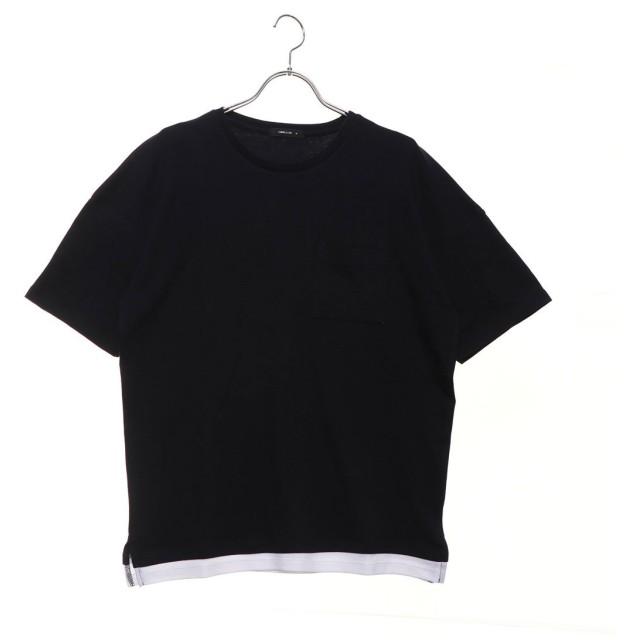 コムサイズム COMME CA ISM フェイクレイヤードビッグTシャツ (ネイビー)