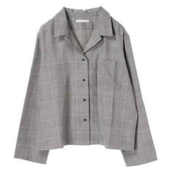 イーハイフンワールドギャラリー E hyphen world gallery グレンチェックビッグシャツジャケット (Gray)