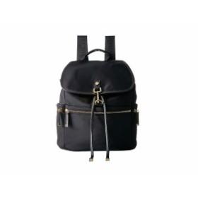 カルバンクライン レディース バックパック・リュックサック バッグ Lianna Nylon Flap Over Backpack Black/Gold