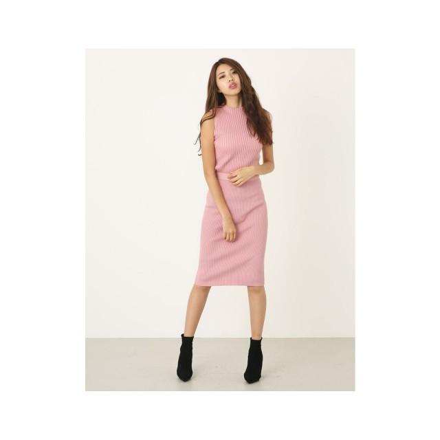 rienda バックルRIBタイトニットスカート ピンク
