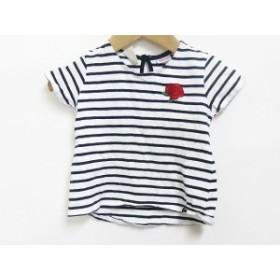 【中古】ザラ ZARA ベビーガール ボーダー 刺繍 カットソー 半袖 Tシャツ 白 紺80 キッズ
