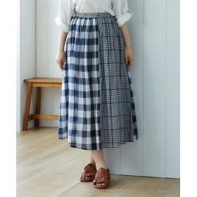 チェック切り替えスカート (ロング丈・マキシ丈スカート),skirt