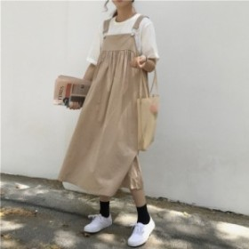 ジャンパースカート カジュアル ワンピース ミモレ丈 ロング丈 ゆったり 体系カバー