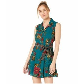アンジー レディース ワンピース トップス Button Front Tie Waist Sleeveless Shirtdress w/ Pockets Teal