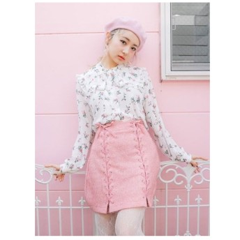 BUBBLES レースアップ台形スカート ピンク