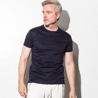 Tシャツ - SHIFFON 1PIU1UGUALE3 RELAX(ウノピゥウノウグァーレトレ) シルキークルーネックTシャツ(ホワイト/ネイビー/ブラック)
