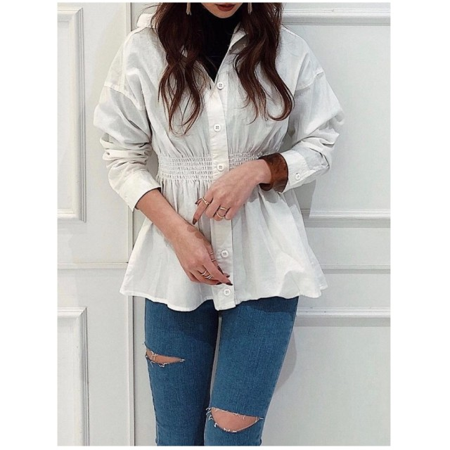 EGOIST ウエストマークシャツ ホワイト