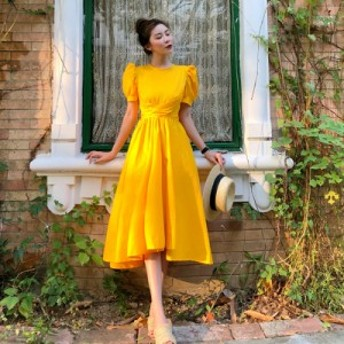 ドレス パーティードレス 結婚式 二次会 ワンピース バックリボン 袖あり 半袖 パフスリーブ フィッシュテール 黄色 ドレス 演奏会 発表