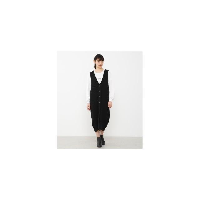 Avan Lily ケーブルニットジャンパースカート ブラック