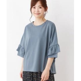 (3can4on/サンカンシオン)【洗える】袖フリルビッグTシャツ/レディース グリーン(022)