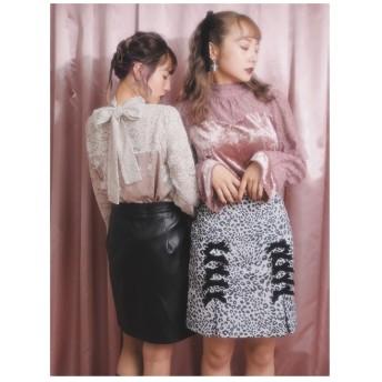 BUBBLES リボン付きボックスプリーツスカート レオパード