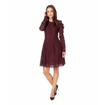 マイケルコース レディース ワンピース トップス Mesh Floral Lace Long Sleeved Dress Cordovan