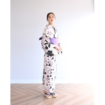 浴衣 - kimonocafe pinne浴衣3点セット モノトーン百合 フリーサイズ Sサイズ TLサイズ ワイドサイズ 作り帯浴衣セット レディース浴衣 レトロ大人