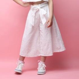 子供服 女の子 夏服 ワイドパンツ 白 セール 【50%OFF】RONI(ロニィ) ハート柄レースワイドパンツ