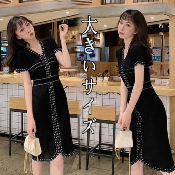 [55555SHOP]ワンピース レディース マキシ 半袖 ロング 大きいサイズ無地 おしゃれ 可愛い ワンピース マキシ丈 ロング丈 ゆったり/編み物/大きいサイズ