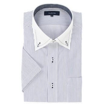 【TAKA-Q:トップス】形態安定吸水速乾レギュラーフィット ボタンダウンクレリック半袖ビジネスドレスシャツ